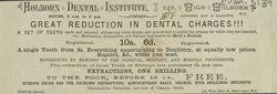 Advertisement for the Holborn Dental Institute